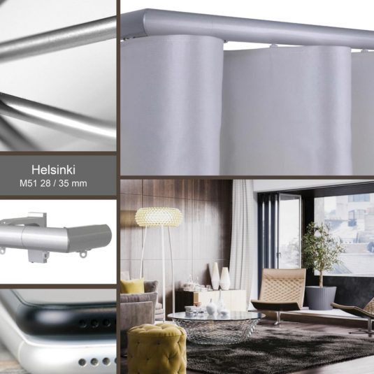 Helsinki M51 35 mm Aluminium Poles –A classic round pole for wave curtains