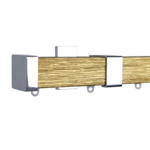 Berlin M51 35 x 35 mm Wood Pole Set Ceiling Bracket for 6 cm Wave Curtains Textured Gold