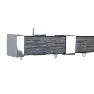 Berlin M51 35 x 35 mm Wood Pole Set Ceiling Bracket for 6 cm Wave Curtains Textured Jat Black