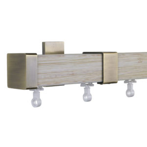 Provence M51 35 x 35 mm Wood Pole Set Ceiling Bracket for 6 cm Wave Curtains Textured Beige Patina