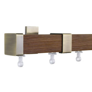 Provence M51 35 x 35 mm Wood Pole Set Ceiling Bracket for 6 cm Wave Curtains Textured Brown