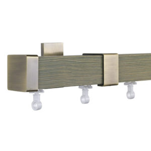 Provence M51 35 x 35 mm Wood Pole Set Ceiling Bracket for 6 cm Wave Curtains Textured Grey Lacquered