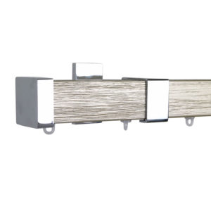 Berlin M51 35 x 35 mm Wood Pole Set Ceiling Bracket for 6 cm Wave Curtains Textured Champagne Gold