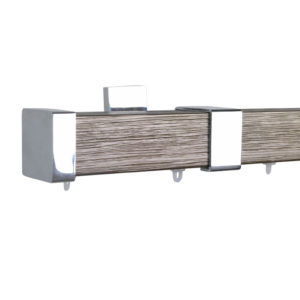 Berlin M51 35 x 35 mm Wood Pole Set Ceiling Bracket for 6 cm Wave Curtains Textured Mocha Gold