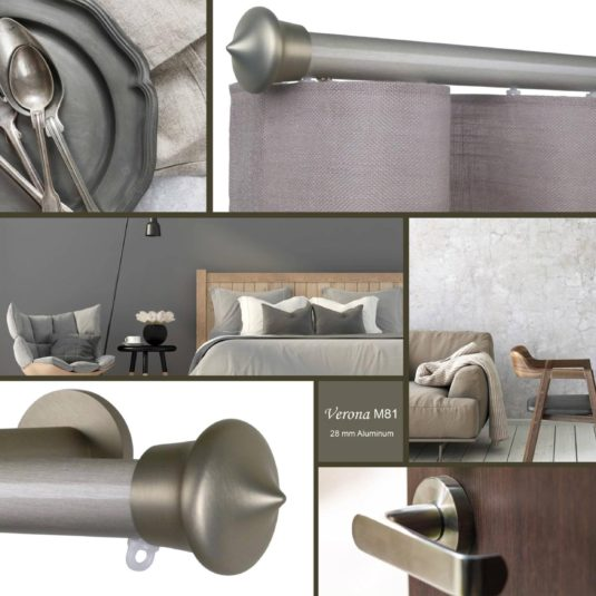 Verona m81 28 mm aluminum pole for wave curtains is an exquisitely styled pole