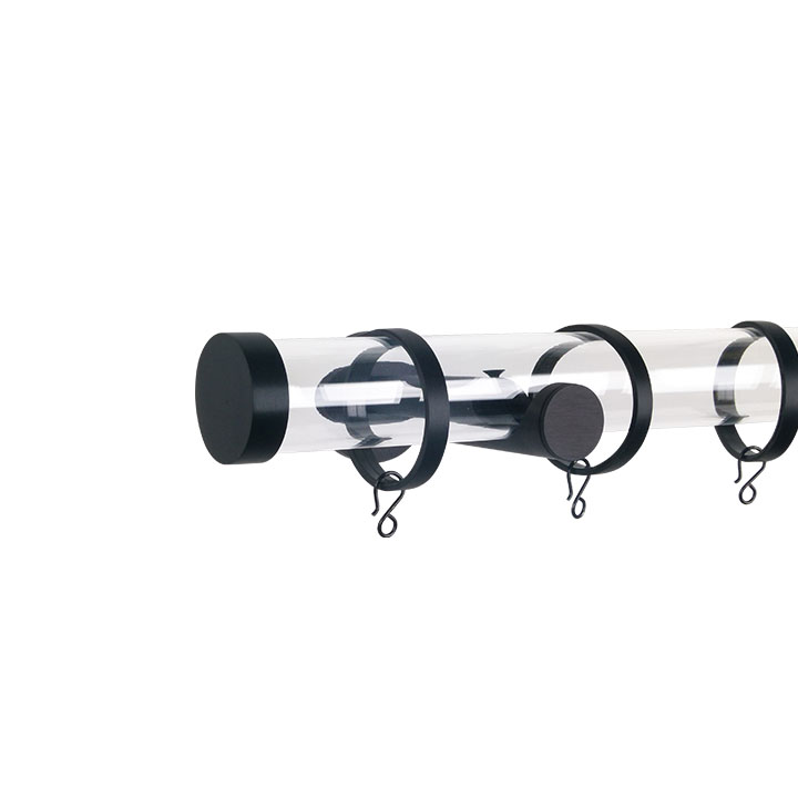 Verona M84 35 mm Acrylic Poles Set Single Bracket Black