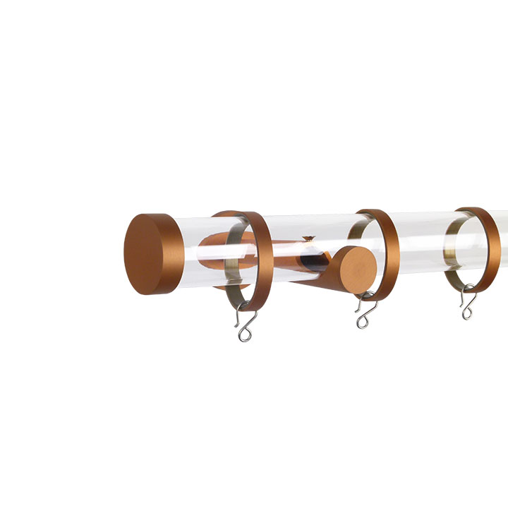 Verona M84 35 mm Acrylic Poles Set Single Bracket Rose Gold